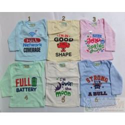 Kaos Hello Baby Panjang uk S 3-12bl idr 22rb per pc, M 6-18bl 22rb per pc, XL 2-3th 24r per pc