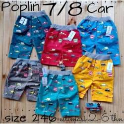 Celana Pendek Anak Poplin Car uk 6-18bl, 1-2th, 2-3th, 3-4th, 4-5th idr 35rb