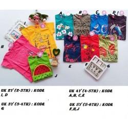 Kaos Pendek Pita Flower Kids uk 2y, 3y, 4y, 5y idr 33rb per pc