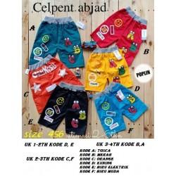 Celana Pendek Anak Abjad uk 1-2th, 2-3th, 3-4th idr 35rb