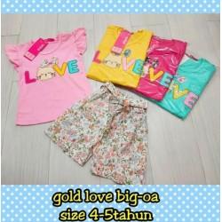 Setelan Anak Gold Love Big idr 52rb per stel