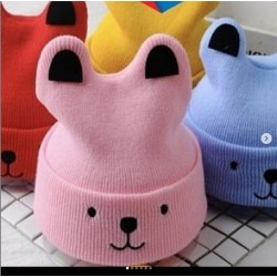 Kupluk Rajut Baby Rabbit 0-24bl idr 30rb per pc