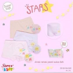 CD Boxer Sorex Kids Stars uk M(2-4th), XL (7-10) idr 48rb per pack isi 3pc