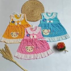 Dress Bayi Motif Bear Bunga Bear PLANET KIDS uk 0-12bl idr 19rb per pc
