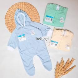 Sleepsuit Baby Miyo Polos Warna Bertopi Tutup Kaki 0-3bl idr 30rb per pc