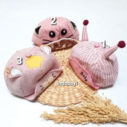 Topi Kukuji Pinky uk 6-30bl idr 45rb per pc