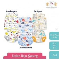Setelan Libby Pendek Panjang Fun Zoo uk L 2-3th idr 45rb per stel
