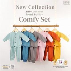 Setelan Baby Panjang Libby Comfy Polos Earth uk 0-3bl, 3-6bl, 6-12bl