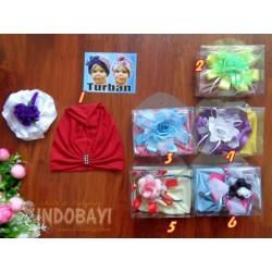 Turban Polos Bunga Besar 1-2th idr 28rb per set