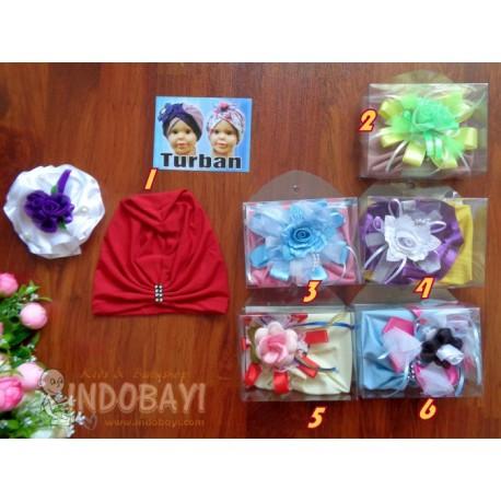 Turban Polos Bunga Besar 1-2th idr 28rb per set