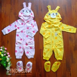 Sleepingsuit Rose Kelinci Polkadot uk 0-3bl, 3-6bl, 6-12bl, 12-18bl idr 68rb per set