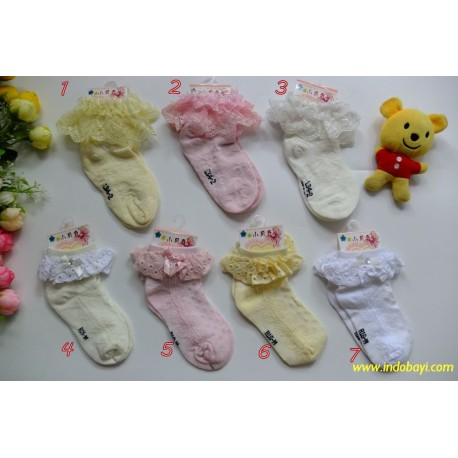 Kaos Kaki Baby Renda uk 1-2th idr 22rb per pasang