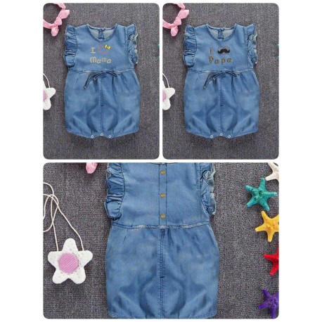 Romper Denim I love Mama Papa idr 68rb