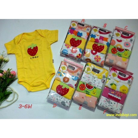 Jumper Libby Pendek Girl 3-6bl idr 120rb per pack isi 4pc