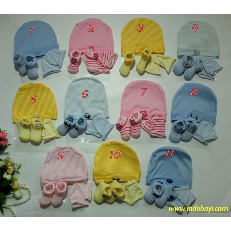 Topi Booties Mitten Packing Jala 0-6bl idr 40rb per set