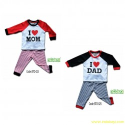 Setelan Piyama Ozuka i love mom dad uk 1-2th idr 55rb per stel