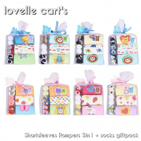 Romper Lovelle Cart + Kaos Kaki uk 3,6,9,12m Feb idr 98rb per pack