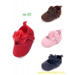 Sepatu Pre Walker Bunga Tiga uk 0-6bl 6-12bl 12-18bl