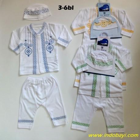 Setelan Koko Baby Muslim Kenaz Polos Putih Putih 3-6bl idr 48rb per set