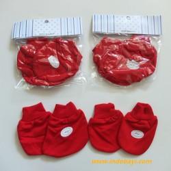 Sarung Tangan Kaki Baby Miyo Merah idr 13rb per pack isi 4pc