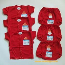 Setelan Baby Pendek Miyo Merah 0-3bl idr 75rb per 3 stel