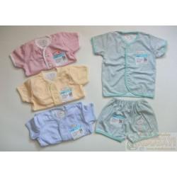 Setelan Baby Miyo Salur Kancing Depan uk M 6-12bl idr 35rb per stel, uk L 1-2th idr 37rb per stel